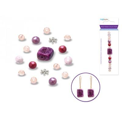Perles en druse - Rose (celle du centre carrée)