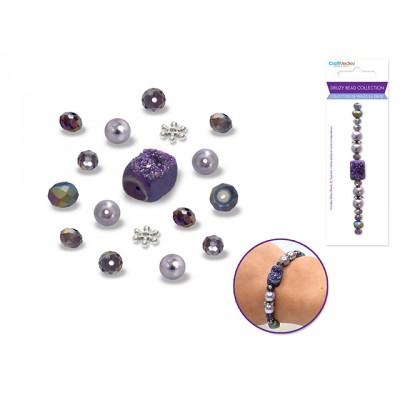 Perles en druse - Améthyste (celle du centre carrée)