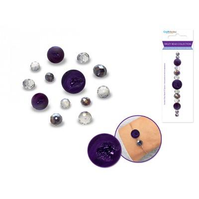 Perles en druse - Améthyste (celle du centre ronde)
