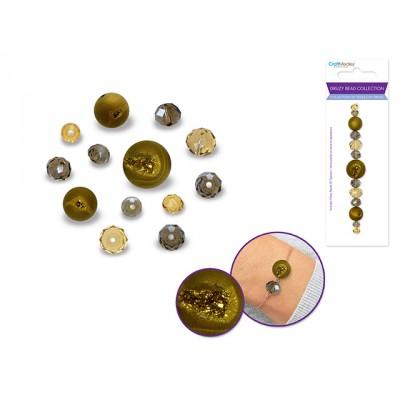 Perles en druse - Or (celle du centre ronde)