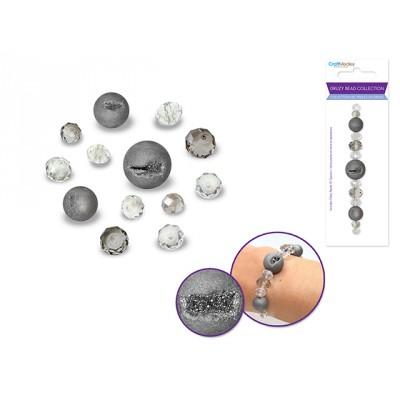 Perles en druse  - Argent (celle du centre ronde)