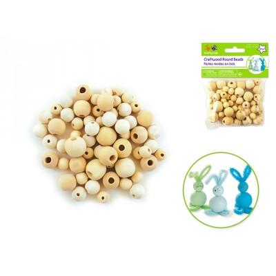 Perles en bois rondes (10mm-16mm) - Naturel