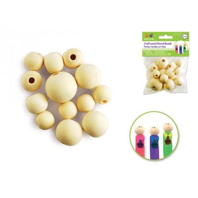 Perles en bois rondes (18mm-30mm) - Naturel