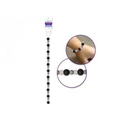 Perles en verre teintées - Gris et Noir givrés