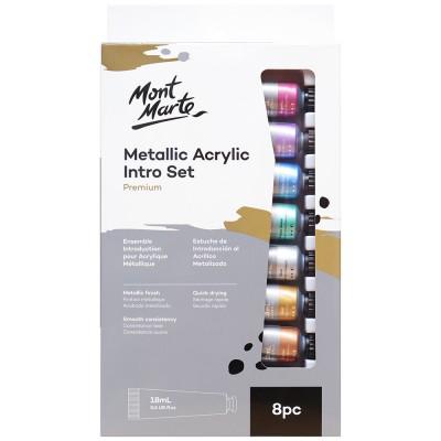 Ensemble peinture acrylique métallique, 8 pcs