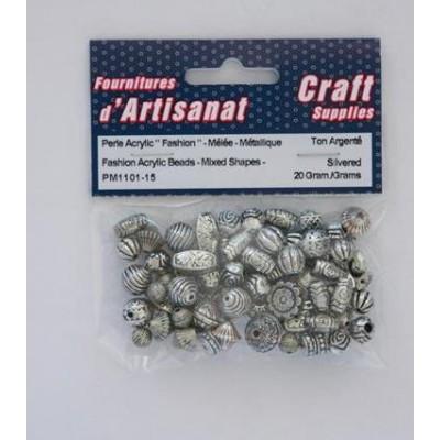 Perles acrylique métallique - Ton argenté