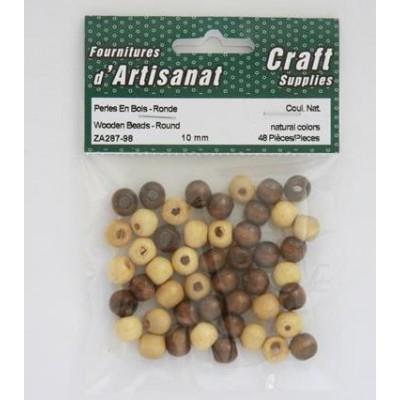 Perles en bois rondes, 10mm - Naturel
