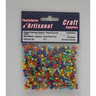 Perles indiennes opaque - Multicolores