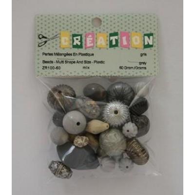 Perles en plastiques - Grises
