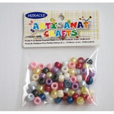 Perles en plastiques Pony perlées, 9mm - Multicolores