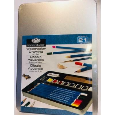 Ensemble 8 pastilles et 8 crayons, couleurs assorties - Aquarelle