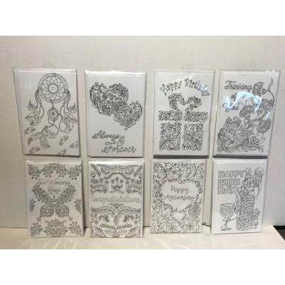Ens. de 8 cartes cartes à colorier