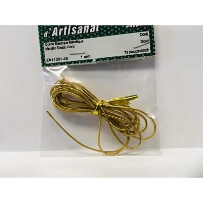 Corde élastique métallique, 1mm - Doré