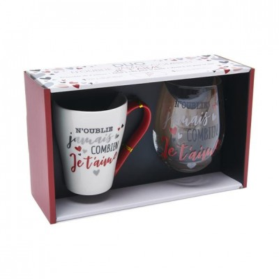 Ensemble duo tasse à café et verre à vin - Amitié/Amour