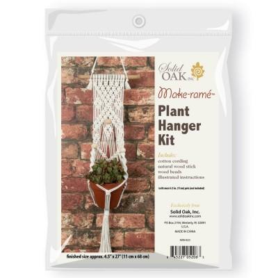 Ens. de macramé -  Une Plante suspendue avec 3 perles de bois